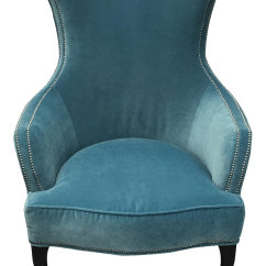 Teal Wingback Chair Red Leather Dining Room Chairs For Sale Henredon Velvet Hourglass Chairish