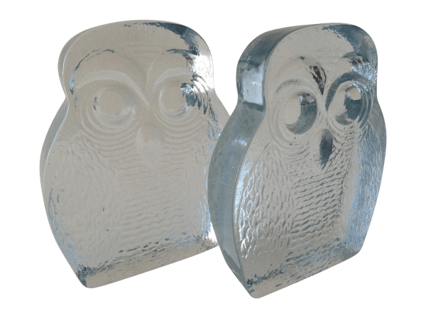 Vintage Blenko Glass Owl Bookends- Pair