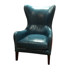Teal Wingback Chair Amazon Massage Crate And Barrel Garbo Leather Chairish
