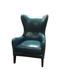 Crate & Barrel Teal Garbo Leather Wingback Chair | Chairish