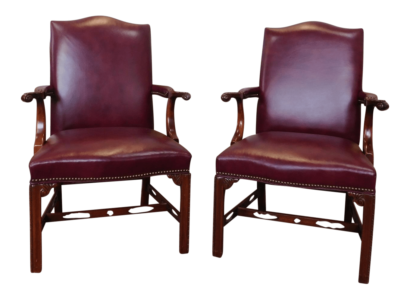 chippendale rocking chair used folding tables and chairs for sale 1990s vintage statesville co mahogany leather