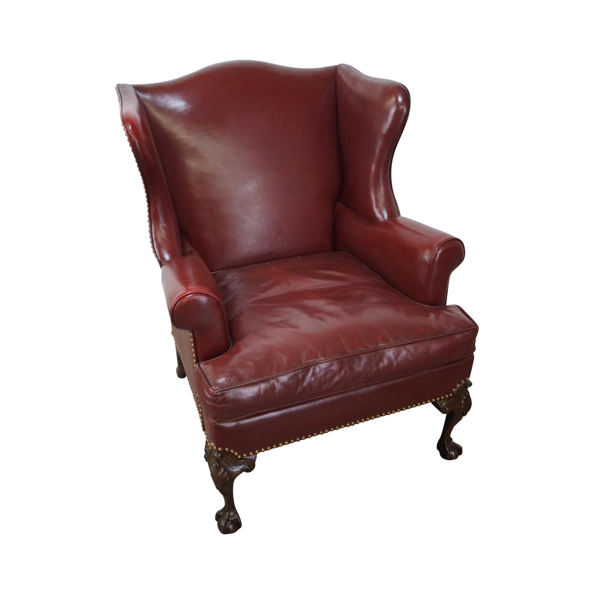 oxblood leather wing chair zero gravity tokopedia chippendale mahogany chairish