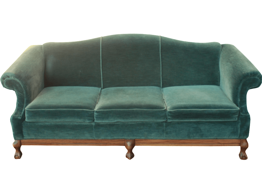 emerald green velvet sofa bed grey leather power reclining vintage with claw feet chairish