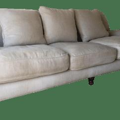 Restoration Hardware Linen Sofa Craigslist Nicoletti Lipari Grey Italian Leather Chaise Left Facing Sand English Roll Arm