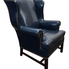 Navy Blue Leather Club Chair Kids 3 Piece Table And Set Hancock Moore Chippendale Wing