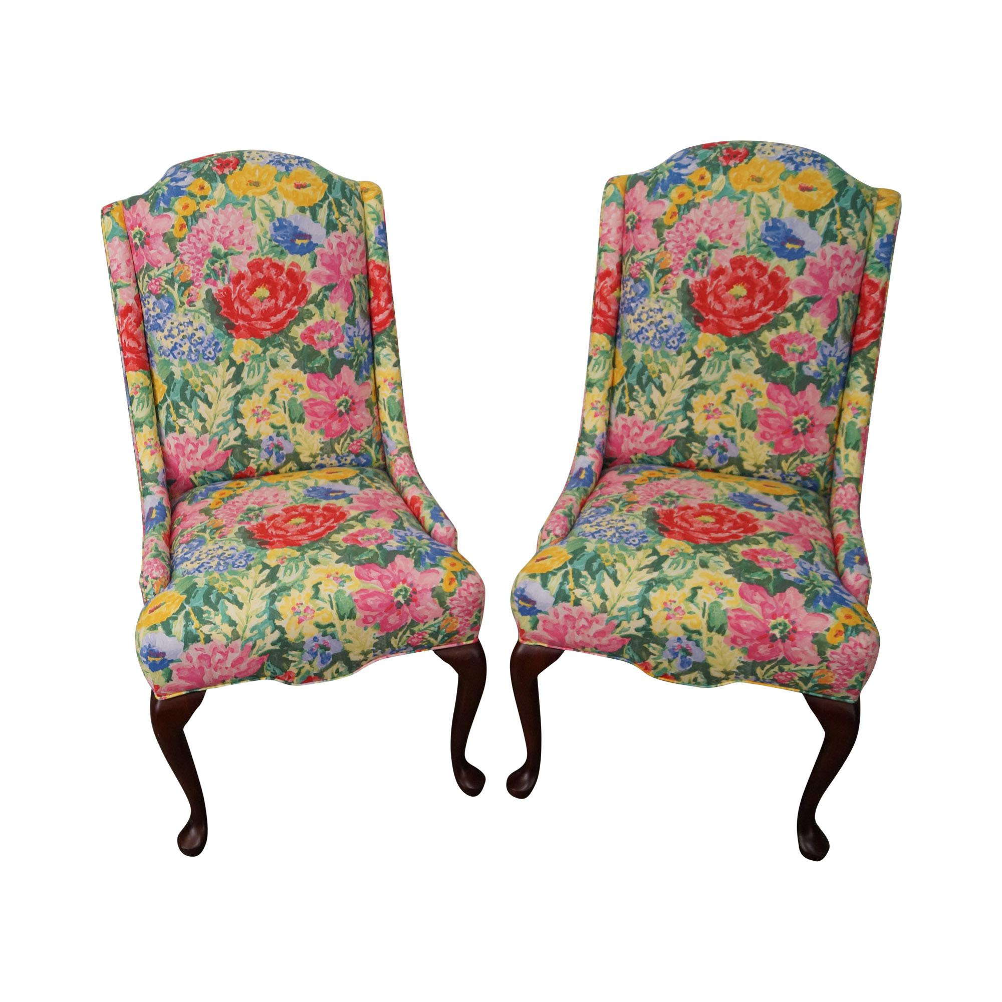 floral upholstered chair office piston pennsylvania house queen anne host