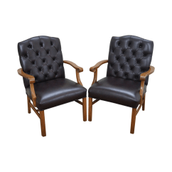 Chippendale Rocking Chair Bedroom Reading Uk Tufted Leather Chesterfield Chairs Chairish