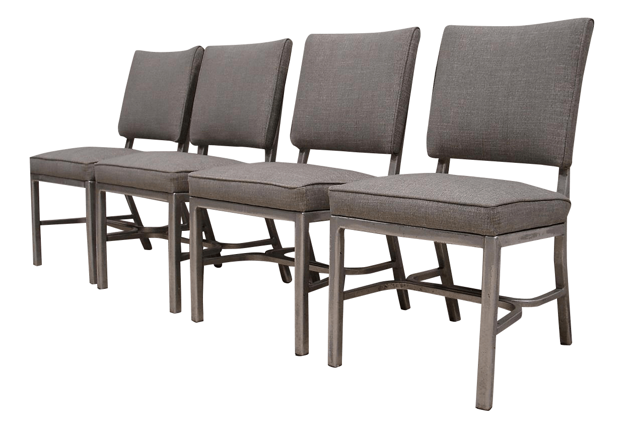 industrial dining chair steel base manufacturer vintage gray chairs set of 4 chairish