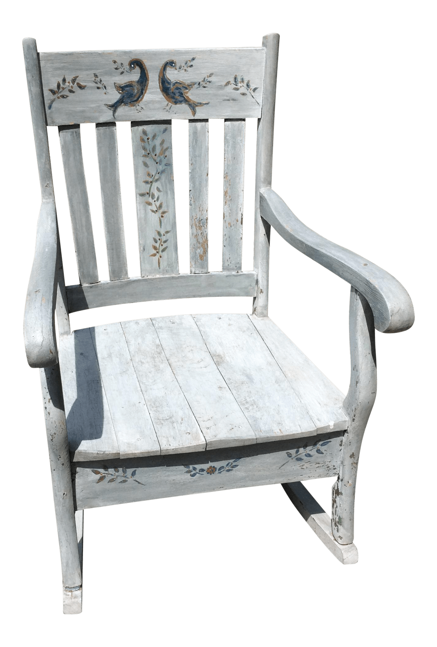 rustic rocking chair blue accent arm hand painted chairish