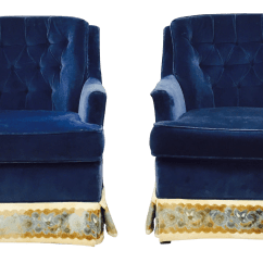 Navy Blue Velvet Club Chair Folding Counter Height Chairs Canada A Pair Chairish