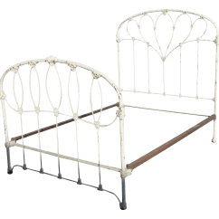 Metal Rocking Chair Runners Christmas Covers Spotlight Antique French Country Full Iron Bed Frame Farmhouse Chic Headboard | Chairish