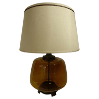 Transparent Amber Glass Table Lamp | Chairish