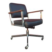 Mid-Century Wheeled Desk Chair With Chrome & Wood | Chairish