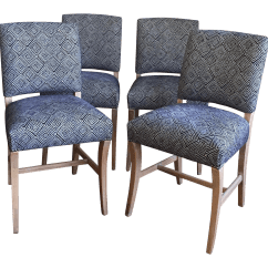 Light Wood Dining Chairs Fur Office Chair Upholstered Blue Geometric Set