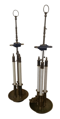 Vintage Brass Bouillotte Lamps - A Pair   Chairish