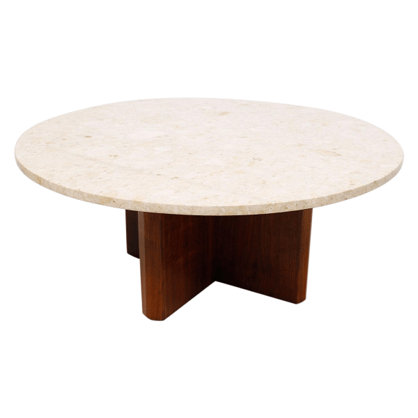 """Travertine Marble Top Coffee Table With """"x Base"""