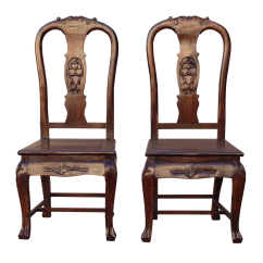 Old Fashioned Rocking Chairs Linen Slipcover Dining Chair Pair Handmade Chinese Shanghai Design Solid Red Wood