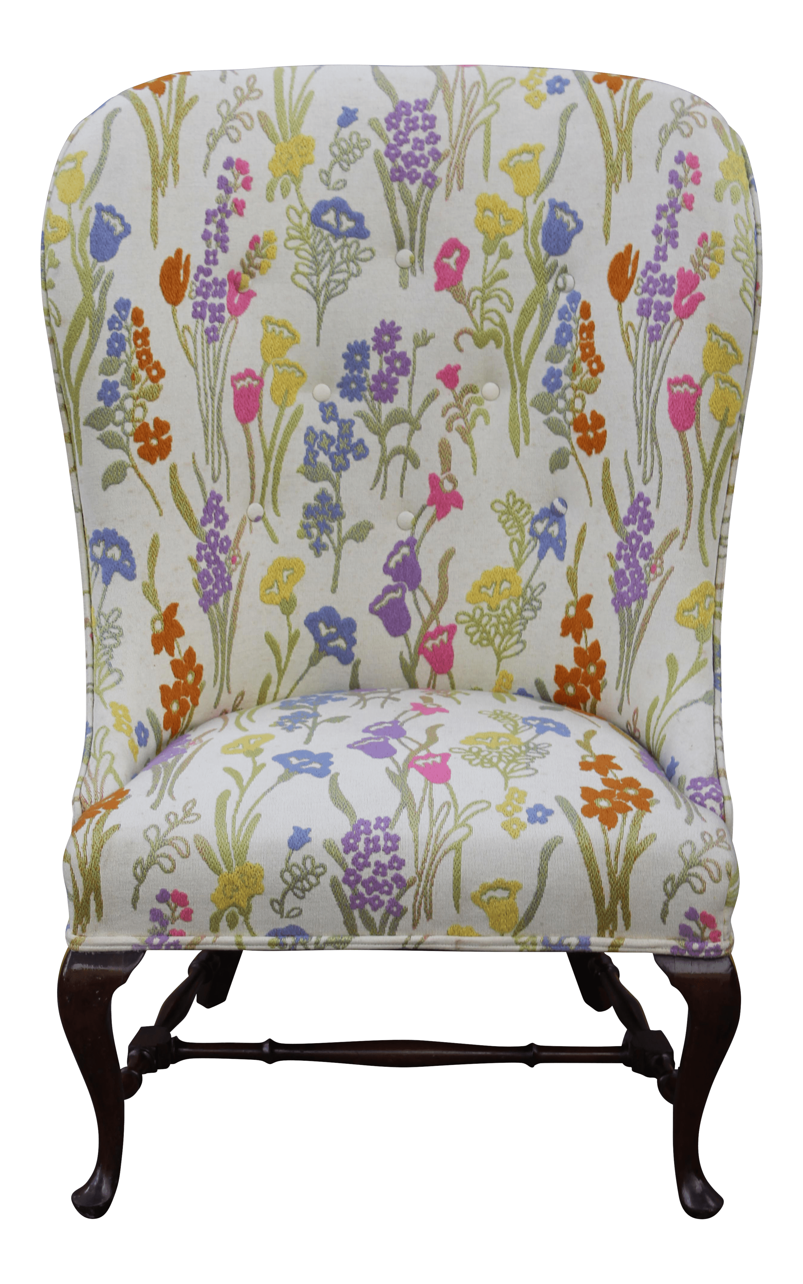 Floral Wingback Chair Vintage Mid Century Floral Wingback Chair Chairish