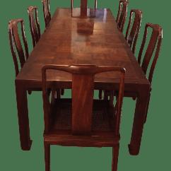 Henredon Asian Dining Chairs Folding Director With Side Table Modern Walnut Set Chairish