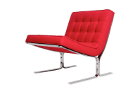 Mid-Century Red Tufted Armless Lounge Chair | Chairish