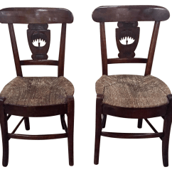 How To Rush A Chair Plus Stool Antique Seat Chairs Pair Chairish