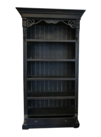 Vintage Distressed Black Bookcase   Chairish