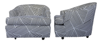 Vintage Black & White Geometric Striped Swivel Club Chairs ...