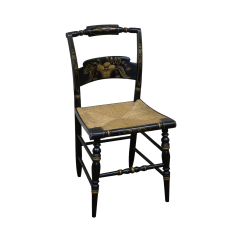 Hitchcock Desk And Chair Heavy Duty Beach Black Stenciled Rush Seat Chairish