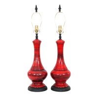 Mid-Century Red Italian Pottery Lamps - a Pair | Chairish