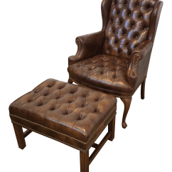 Tufted Leather Wingback Chair Memory Foam Kitchen Pads And Ottoman Chairish