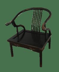 Chinese Horseshoe Chair in Black Lacquered Finish | Chairish