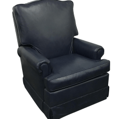 Navy Rocking Chair Red Nwpa Blue Swivel Recliner By Leathercraft Chairish