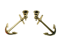 Brass Anchor Candle Holders - A Pair | Chairish