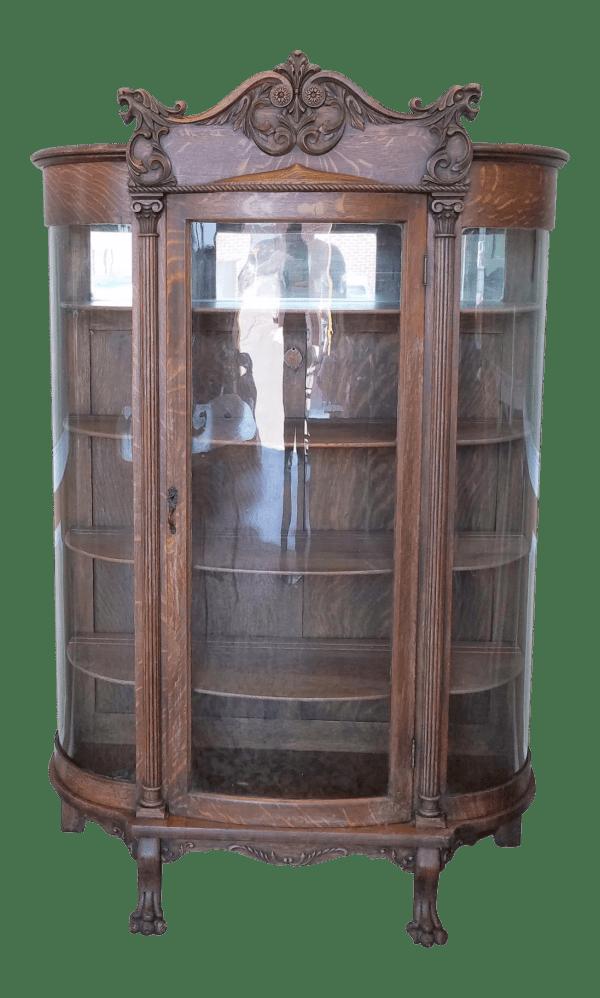 1890s Antique Carved Quartered Oak Victorian Curved Glass