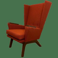 Orange Upholstered Chair Vanguard Furniture Dining Chairs Wingback Chairish