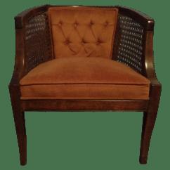Mid Century Cane Barrel Chair Swivel And Footstool Vintage Modern Barrelback Chairish