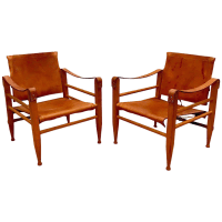 Danish Modern Wood & Leather Safari Chairs - A Pair | Chairish
