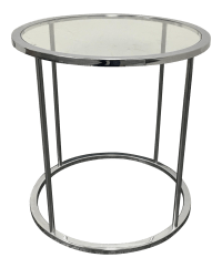 Mid-Century Round Chrome & Glass Side Table | Chairish