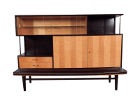 Mid-Century Two Tone Wood Display Cabinet | Chairish