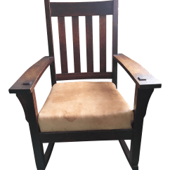 Unfinished Wood Rocking Chair Office Desk And Set India Vintage Solid Oak Chairish