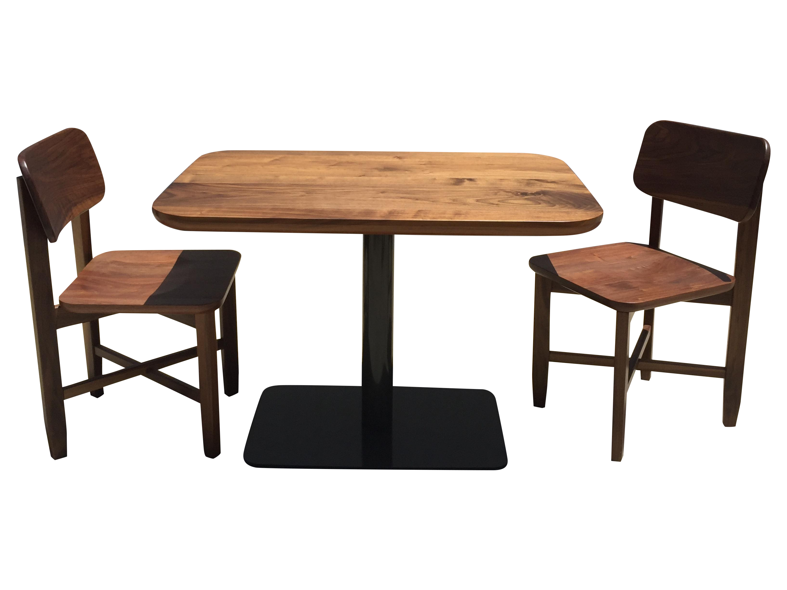 Small Walnut Cafe Table  Two Chairs  Handcrafted  Chairish