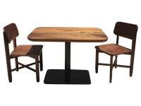 Small Walnut Cafe Table & Two Chairs - Handcrafted | Chairish