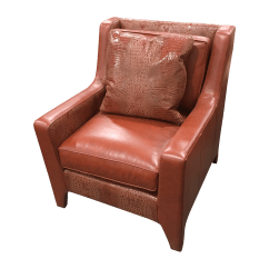 Accent Chair Orange White Dining Leathercraft Burnt Leather Chairish