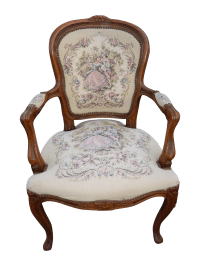 French Provincial Tapestry Ornate Carved Arm Chair | Chairish