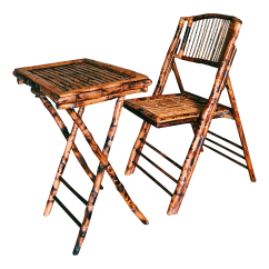 Bamboo Folding Chair Target Armchair Slipcover Vintage Burnt Tortoise And Tray Chairish