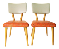 Mid-Century Wood & Pink Vinyl Dining Chairs - A Pair ...