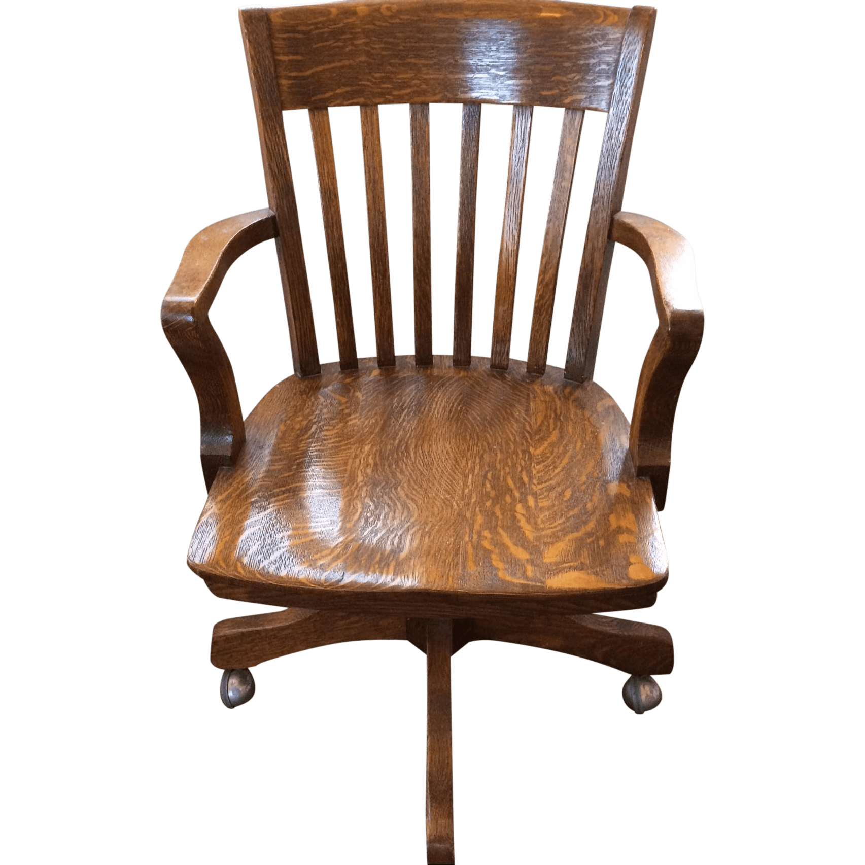 tiger oak dining chairs rattan living room chair antique office bank swivel chairish