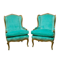 Louis XV Turquoise Velvet Wingback Chairs   Chairish