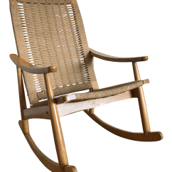 Woven Rocking Chair Eames Uk Vintage Mid Century Modern Hans Wagner Style