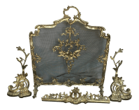 French Brass Fireplace Screen Chenets and Guard | Chairish